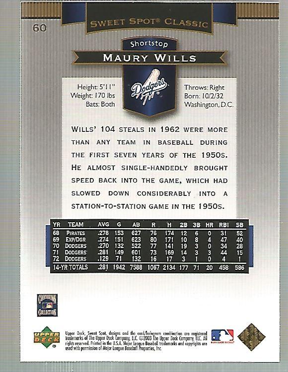 2003 Sweet Spot Classics #60 Maury Wills back image