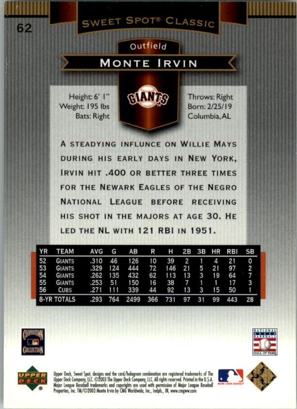 2003 Sweet Spot Classics #62 Monte Irvin back image
