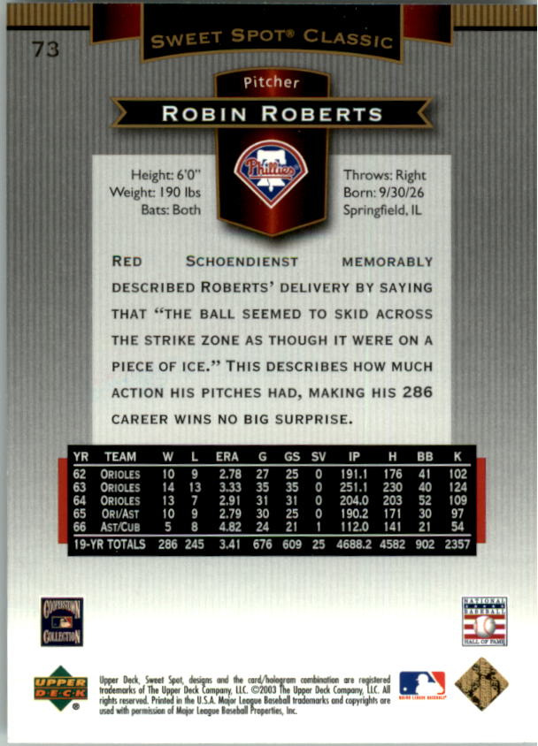 2003 Sweet Spot Classics #73 Robin Roberts back image