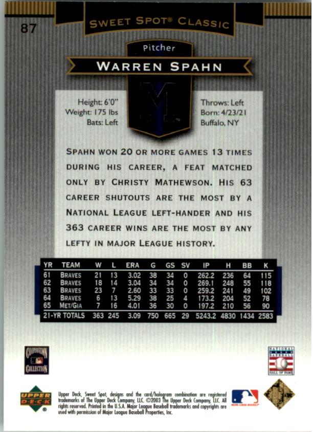 2003 Sweet Spot Classics #87 Warren Spahn back image
