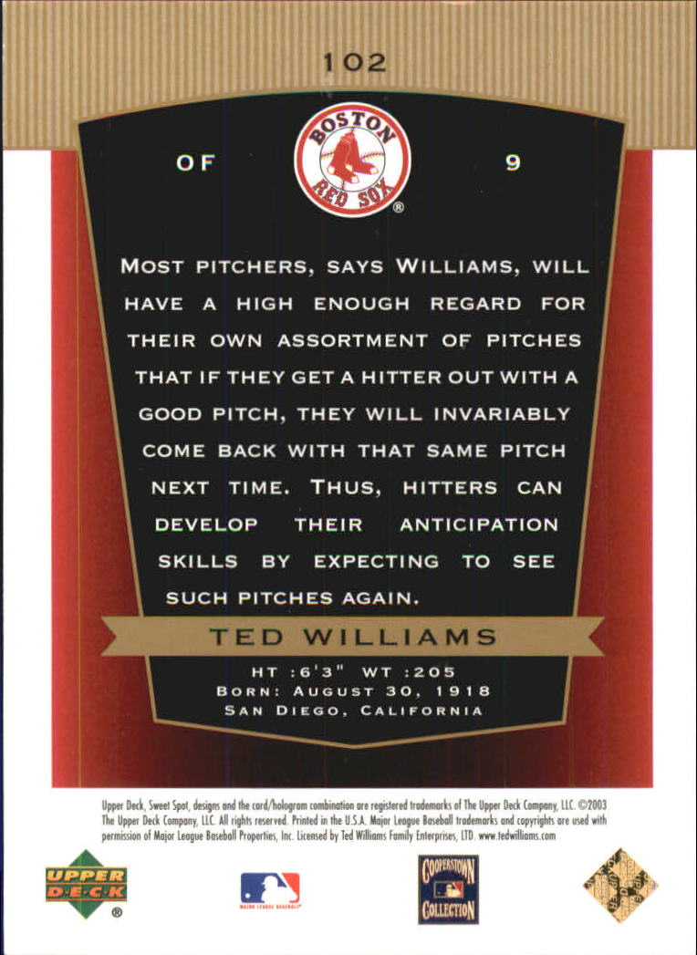 2003 Sweet Spot Classics #102 Ted Williams TB back image