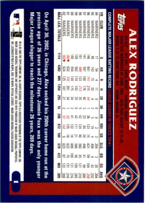 2003 Topps #1 Alex Rodriguez back image