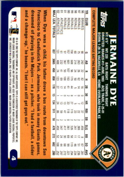 2003 Topps #4 Jermaine Dye back image