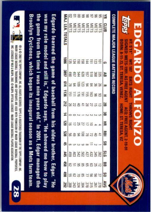 2003 Topps #28 Edgardo Alfonzo New York Mets Baseball Card