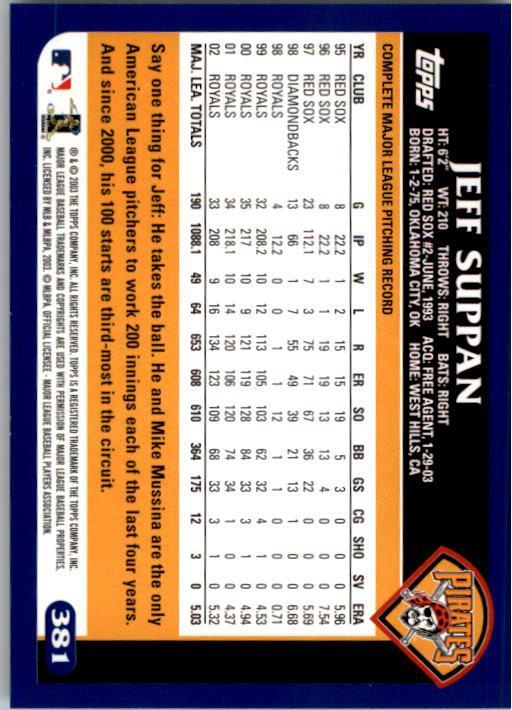 2003 Topps #381 Jeff Suppan back image
