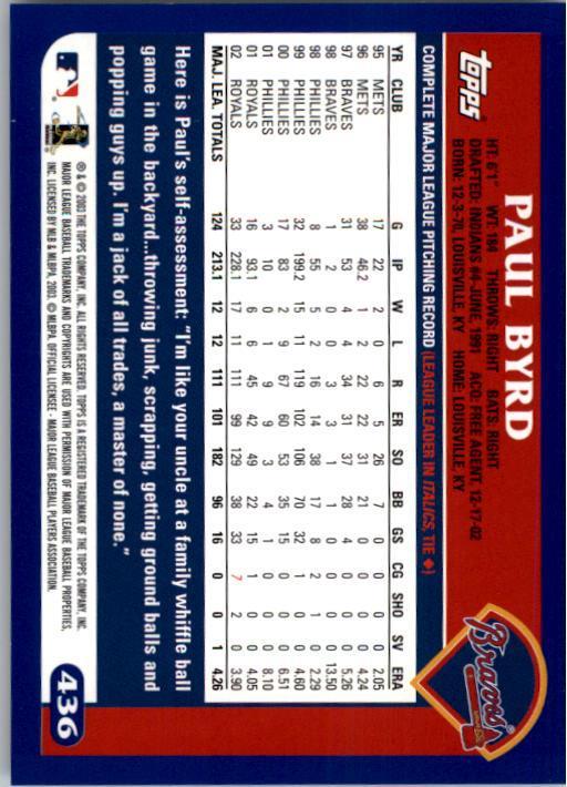2003 Topps #436 Paul Byrd back image