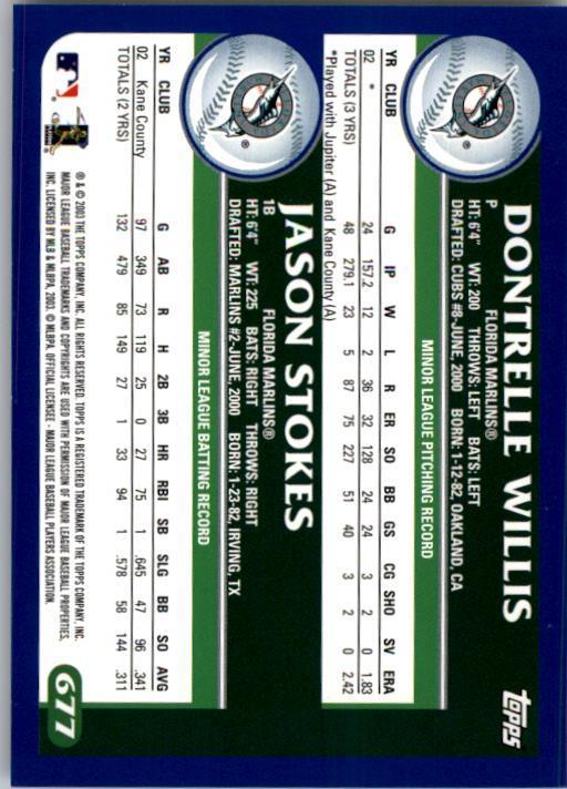 2003 Topps #677 D.Willis/J.Stokes back image