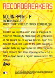 2003 Topps Record Breakers #NR Nolan Ryan 1 back image