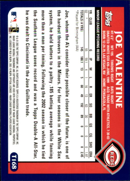 2003 Topps Traded #T168 Joe Valentine FY RC back image