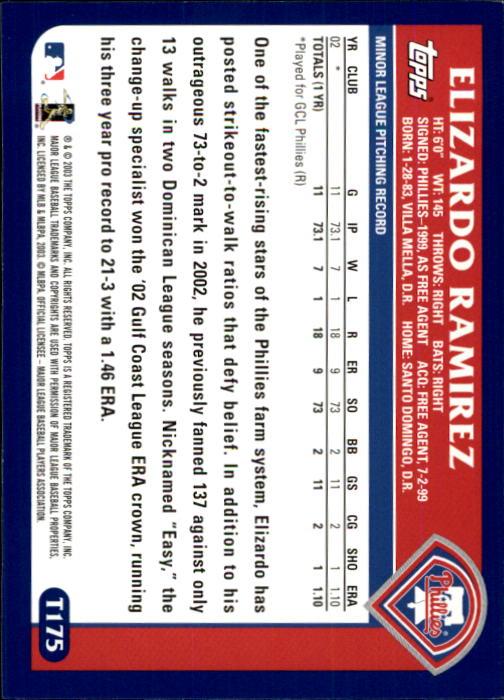 2003 Topps Traded #T175 Elizardo Ramirez FY RC back image