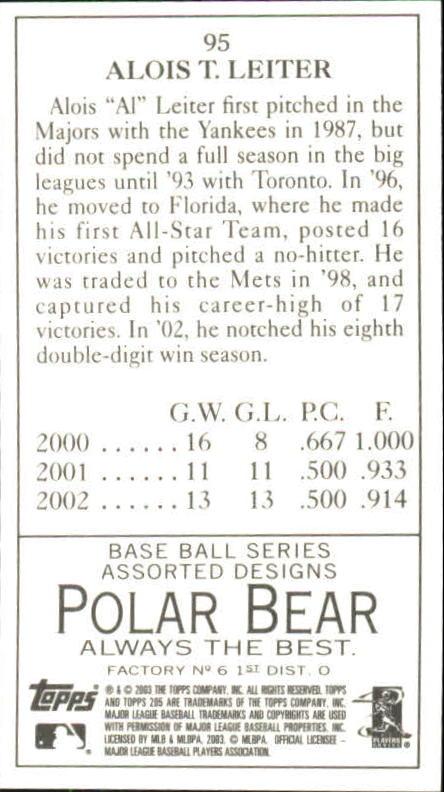 2003 Topps 205 Polar Bear #95 Al Leiter back image