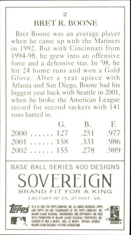 2003 Topps 205 Sovereign #2 Bret Boone back image