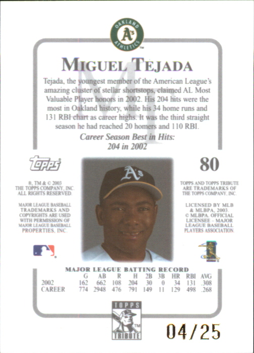 2003 Topps Tribute Contemporary Gold #80 Miguel Tejada back image