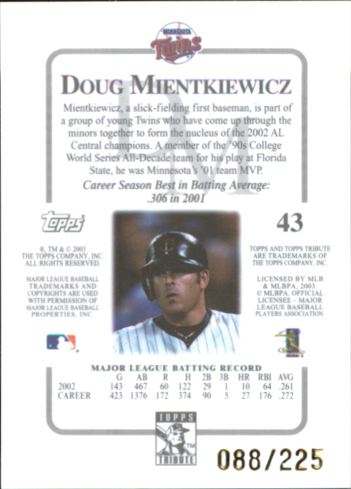 2003 Topps Tribute Contemporary Red #43 Doug Mientkiewicz back image