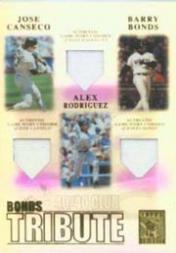 2003 Topps Tribute Contemporary Bonds Tribute 40-40 Club Relics #CBR Jose Canseco Uni/Barry Bonds Uni/Alex Rodriguez Uni