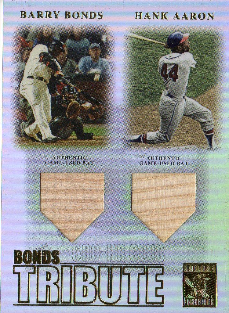 2003 Topps Tribute Contemporary Bonds Tribute 600 HR Club Double Relics #BA Barry Bonds Bat/Hank Aaron Bat