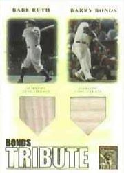2003 Topps Tribute Contemporary Bonds Tribute 600 HR Club Double Relics #RB Babe Ruth Bat/Barry Bonds Bat
