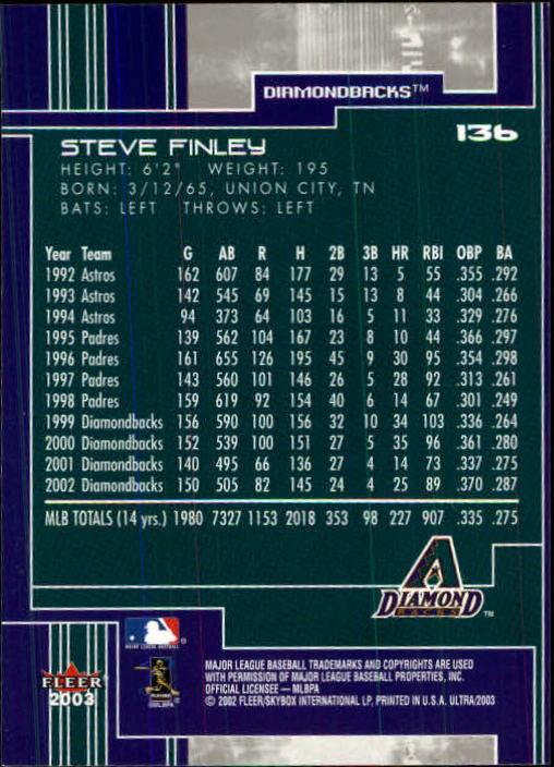 2003 Ultra #136 Steve Finley back image