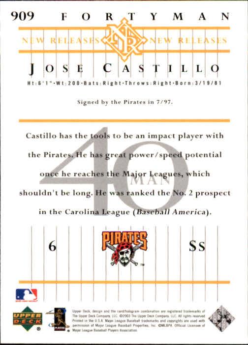 2003 Upper Deck 40-Man #909 Jose Castillo NR back image