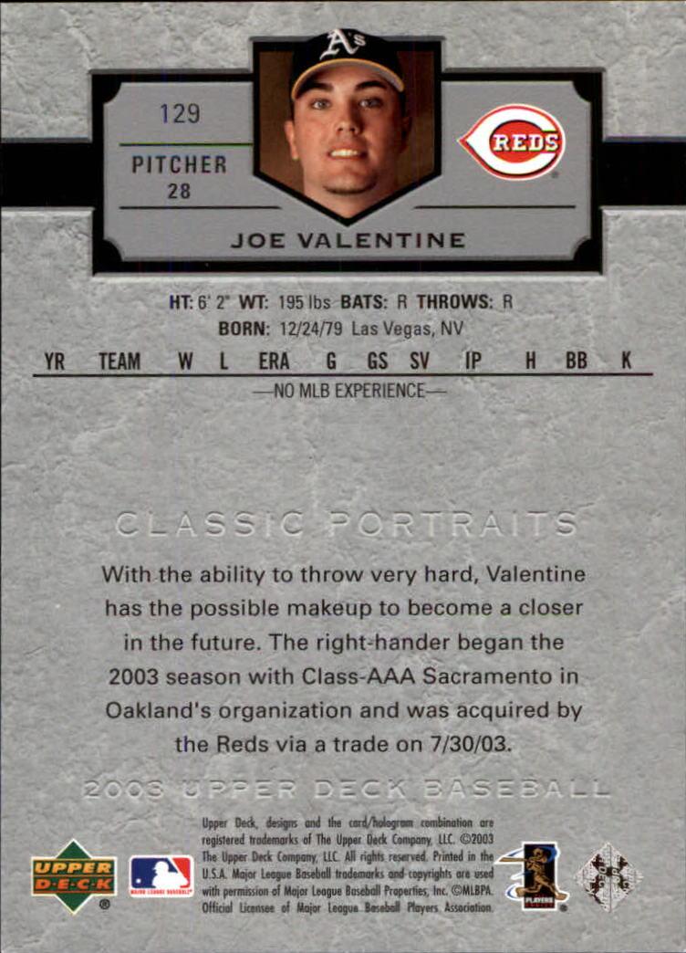 2003 Upper Deck Classic Portraits #129 Joe Valentine SP RC back image
