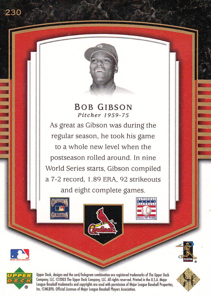 2003 Upper Deck Classic Portraits #230 Bob Gibson BBR back image