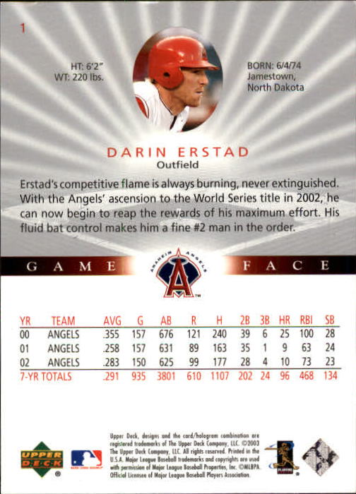 2003 Upper Deck Game Face #1 Darin Erstad back image