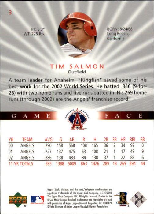 2003 Upper Deck Game Face #3 Tim Salmon back image