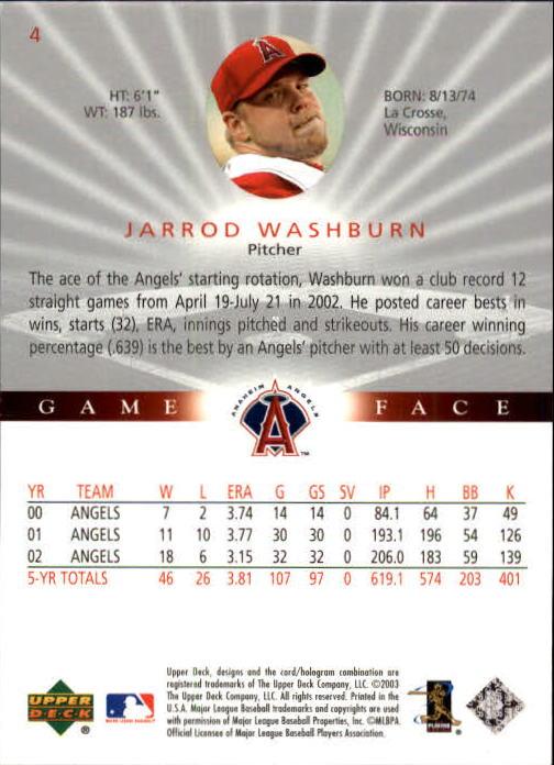 2003 Upper Deck Game Face #4 Jarrod Washburn back image