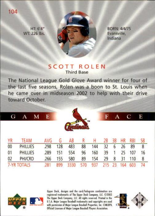 2003 Upper Deck Game Face #104 Scott Rolen back image