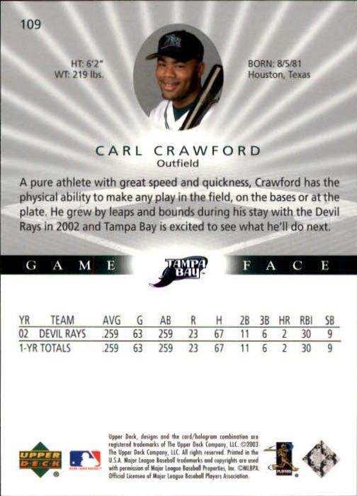 2003 Upper Deck Game Face #109 Carl Crawford back image