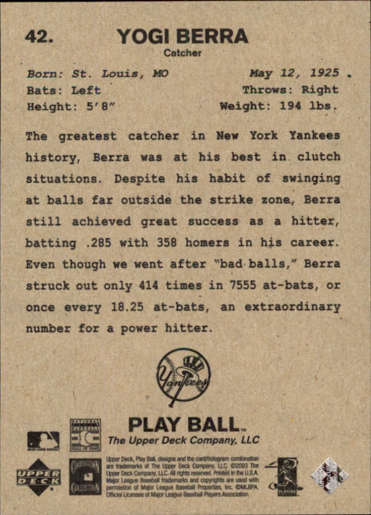 2003 Upper Deck Play Ball #42 Yogi Berra back image