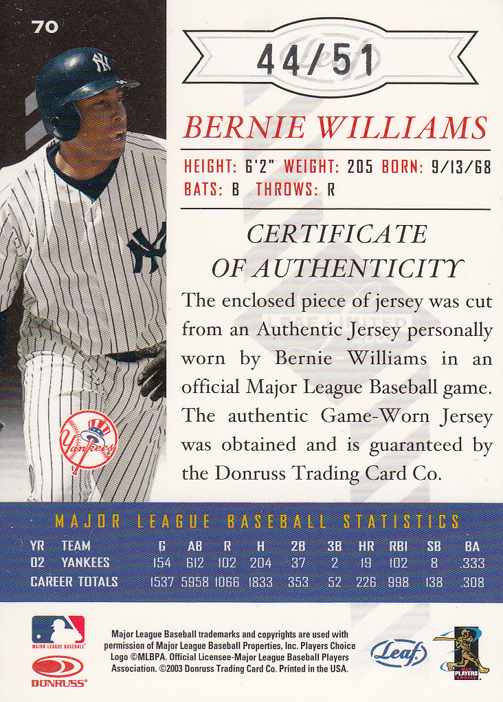 2003 Leaf Limited Threads Number #70 Bernie Williams H/51 back image
