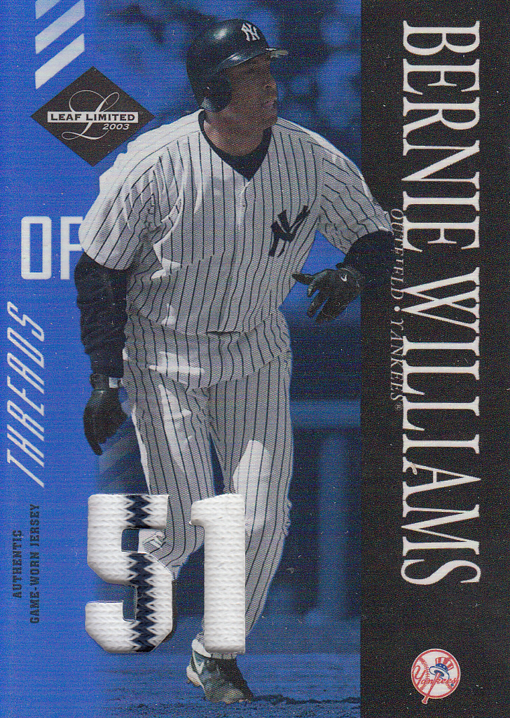 2003 Leaf Limited Threads Number #70 Bernie Williams H/51
