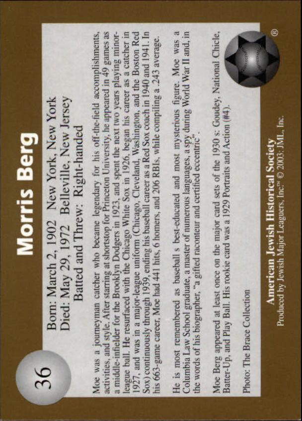 2003 Jewish Major Leaguers Gold #36 Moe Berg back image