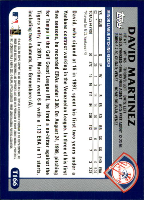 2003 Topps Chrome Traded #T166 David Martinez FY RC back image