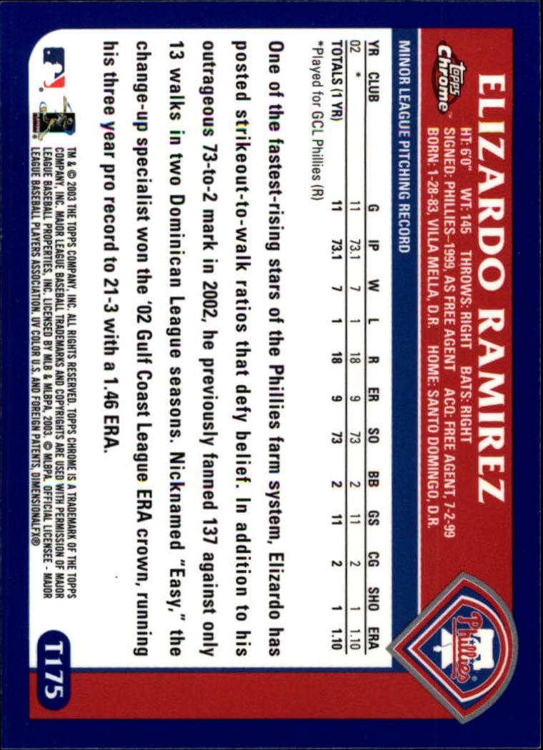 2003 Topps Chrome Traded #T175 Elizardo Ramirez FY RC back image