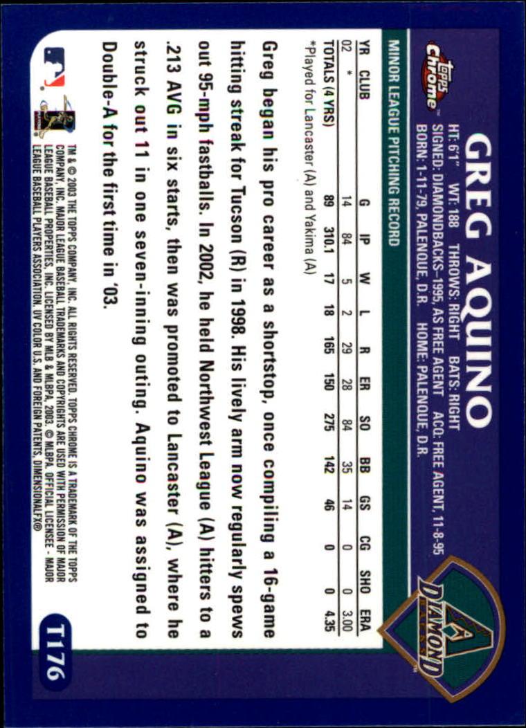 2003 Topps Chrome Traded #T176 Greg Aquino FY RC back image