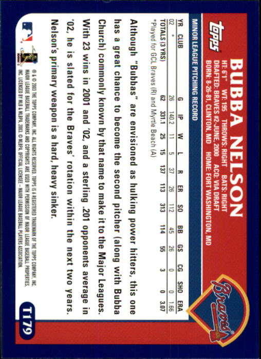 2003 Topps Chrome Traded #T179 Bubba Nelson FY RC back image