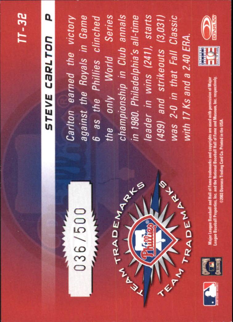 2003 Donruss Signature Team Trademarks #32 Steve Carlton back image