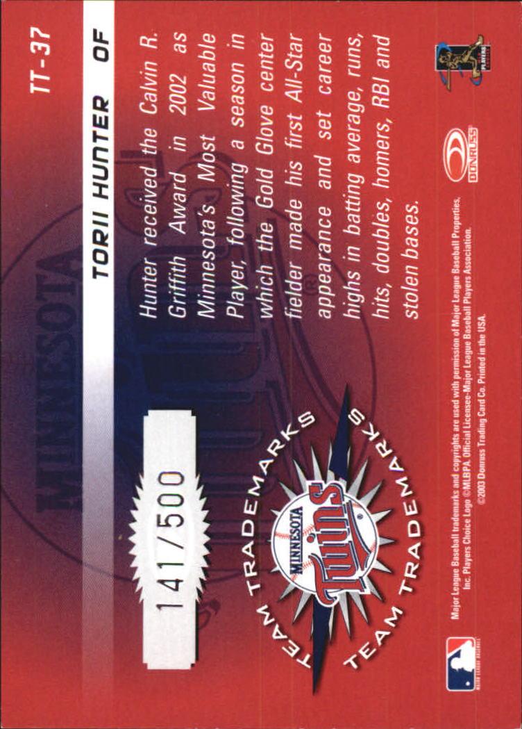 2003 Donruss Signature Team Trademarks #37 Torii Hunter back image