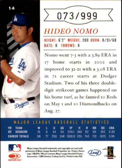 2003 Leaf Limited #14 H.Nomo Dodgers back image