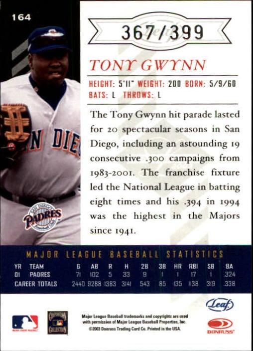 2003 Leaf Limited #164 Tony Gwynn back image