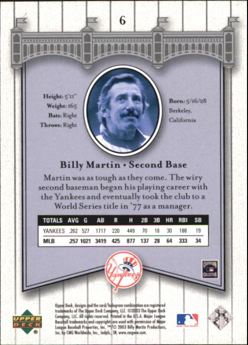 2003 Upper Deck Yankees Signature #6 Billy Martin back image