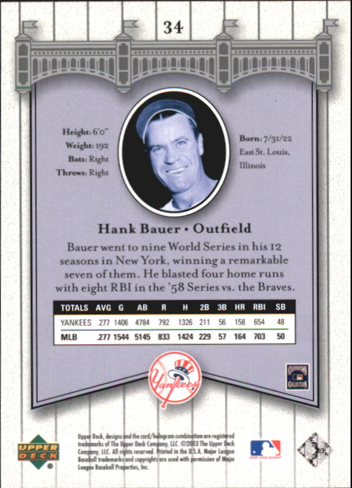 2003 Upper Deck Yankees Signature #34 Hank Bauer back image