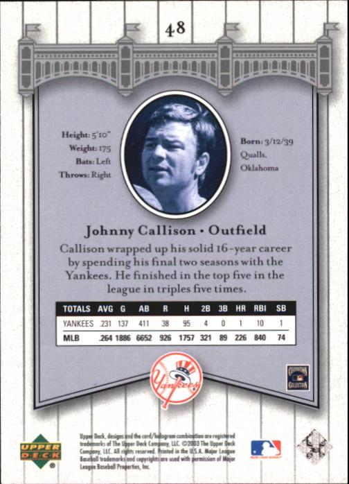 2003 Upper Deck Yankees Signature #48 Johnny Callison back image
