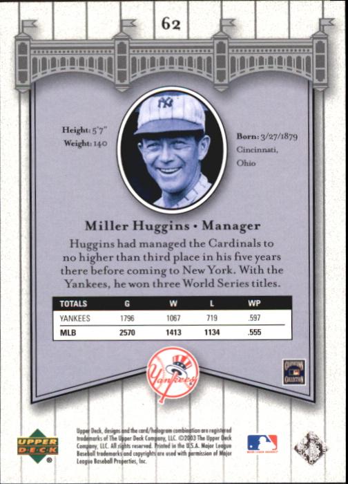 2003 Upper Deck Yankees Signature #62 Miller Huggins MG back image