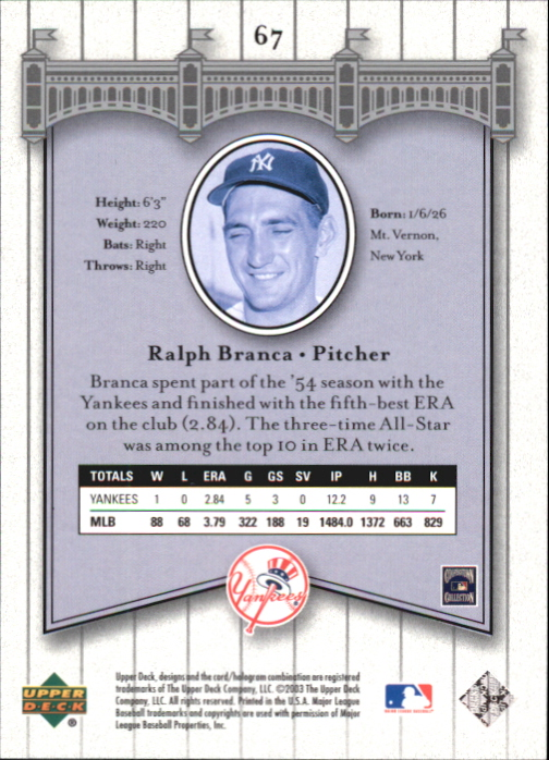 2003 Upper Deck Yankees Signature #67 Ralph Branca back image