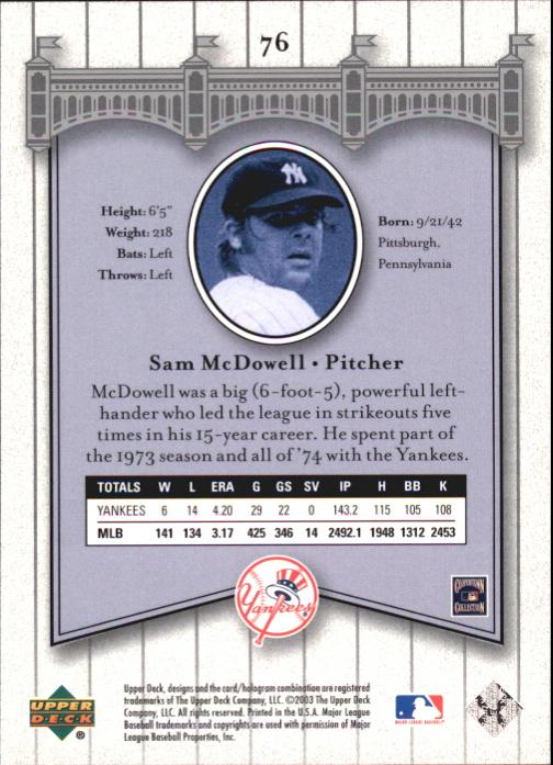 2003 Upper Deck Yankees Signature #76 Sam McDowell back image