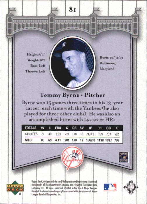 2003 Upper Deck Yankees Signature #81 Tommy Byrne back image