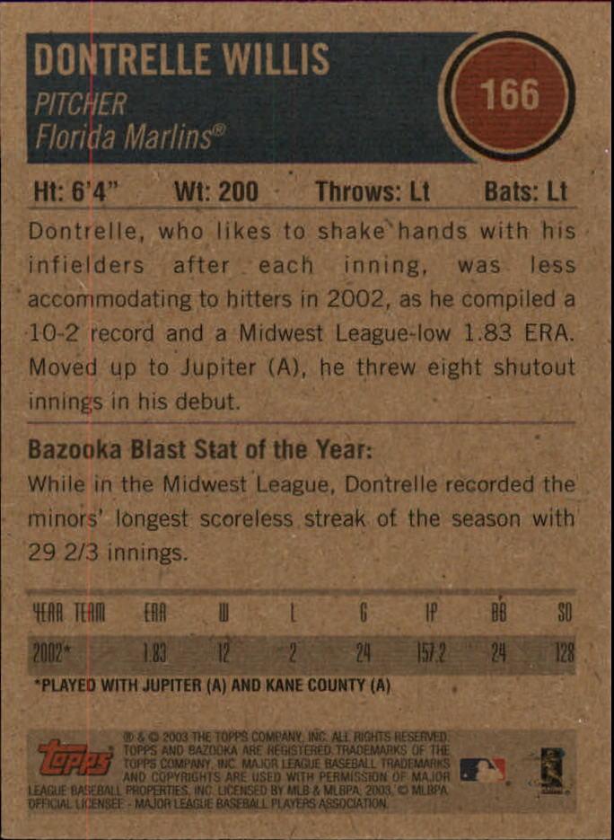 2003 Bazooka Minis #166 Dontrelle Willis back image
